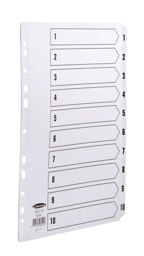 Concord Commercial Index Mylar-reinforced Europunched 1-10 Clear Tabs A4 White Code 08201