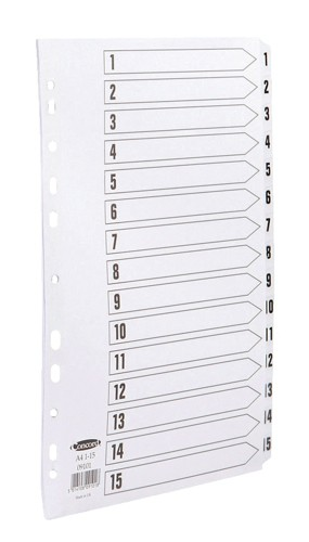 Concord Commercial Index Mylar-reinforced Europunched 1-15 Clear Tabs A4 White Code 09101