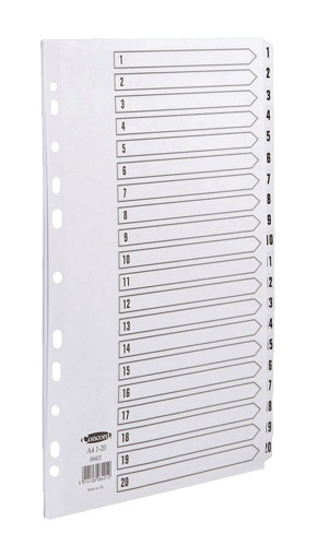 Concord Commercial Index Mylar-reinforced Europunched 1-20 Clear Tabs A4 White Code 08401