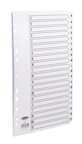 Concord Commercial Index Mylar-reinforced Europunched 20-Part A-Z Clear Tabs A4 White Code 08601
