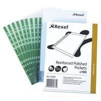 Rexel Nyrex Clear Reinforced Pockets Green Spine A4 Code 12265