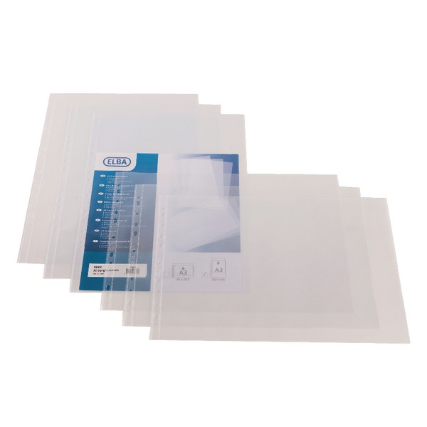 Elba Pockets A3 Oblong Open Top 120micron Clear Pack 25