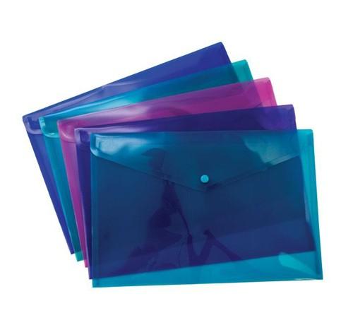 Pukka Stud Wallet File Translucent Polypropylene Foolscap Yellow Pack 5