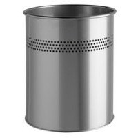 Durable Bin Round Metal 30mm Perforated 15 Litres Metallic Silver Ref 3300/23