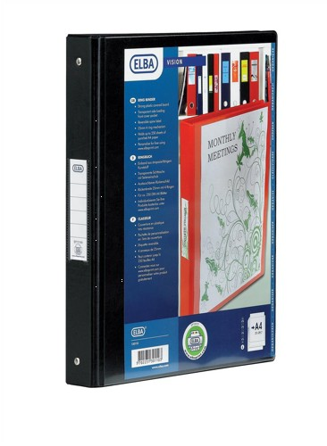 Elba Vision Ring Binder PVC with Clear Front Pocket 4 O-Ring Size 25mm A4 Black Ref 100080881 [Pack 10]