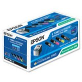 Epson C1100 Economy Pack 4 Toner Cartridges Black Cyan Magenta Yellow C13S050268