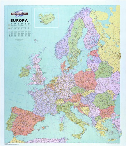 Map Marketing Europa Political Map Unframed 64Mile/1in Scale 990x1010mm Code WEURP