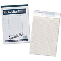 Guildhall A4 Account Pad 2 Cash Column 298x210mm 60 sheets Punched 4 Holes