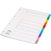 Concord 10 Part Multicoloured Index A4 Coloured Mylar Tabs CS8 Code 00801