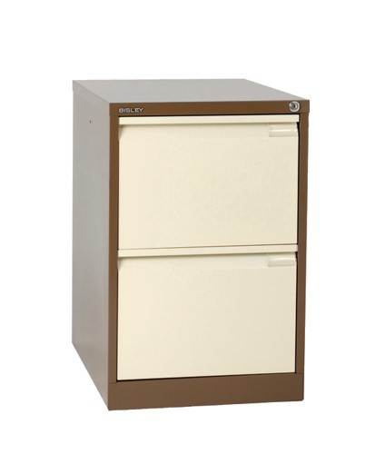 Bisley BS2E Filing Cabinet Flush Front 2 Drawer Coffee & Cream