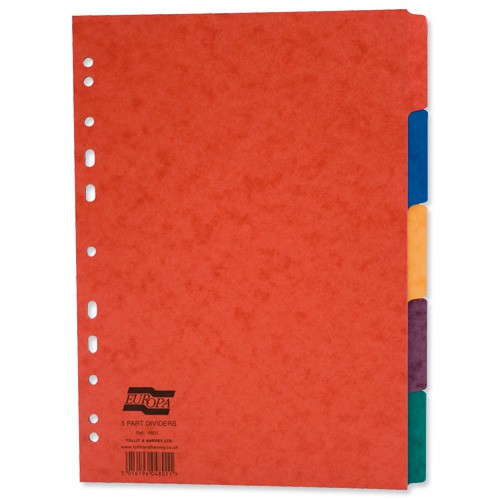 Europa Subject Dividers Pressboard 300 micron Europunched 5 Part A4 Assorted Ref 4801Z [Pack 25]