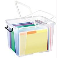 Strata Smart Box Clip-On Folding Lid Carry Handles 40 Litre Clear Ref HW674CLR