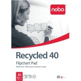 Nobo Recycled Flipchart Pad Perforated 100gsm 40 Sheets A1 Plain Code 34631178