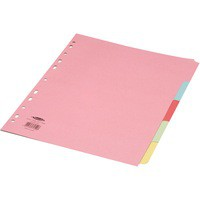 Concord Punched Pocket Subject Dividers Extra Wide 5-Part A4 Assorted Code 71399