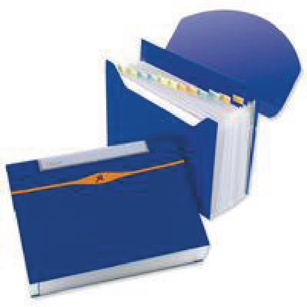 Rexel Optima Expanding Organiser File Polypropylene 13-Part Capacity 500 Sheets A4 Blue Ref 2102484