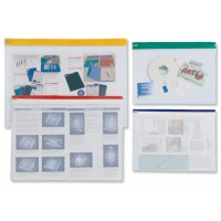 Image for INDX Zip Pouch Lightweight Polythene Clear with Coloured Seal A4 Assorted Ref 50007 [Pack 25]