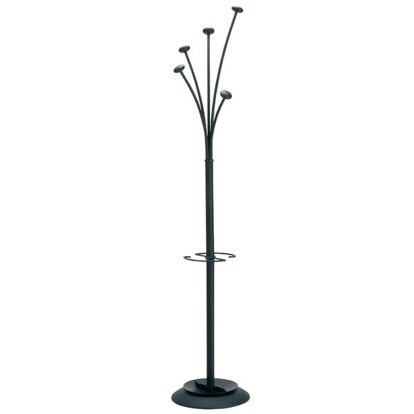 Style Hat and Coat Stand Tubular Steel with Umbrella Holder and 5 Pegs Black
