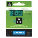 Dymo D1 Tape for Electronic Labelmakers 12mmx7m Black on Green Code S0720590