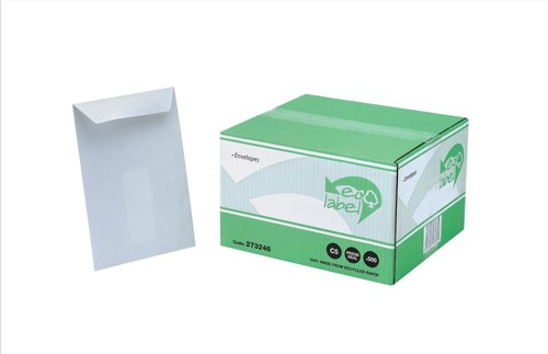 Ecolabel Envelopes Recycled Pocket with Window Press Seal 90gsm C5 White Ref  [Pack 500]