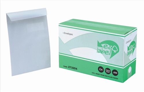 Ecolabel Envelopes Recycled Wallet with Window Press Seal 90gsm C4 White Ref  [Pack 250]