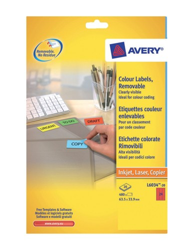 Avery Coloured Labels Laser 24 per Sheet 63.5x33.9mm Red Ref L6034-20 [480 Labels]