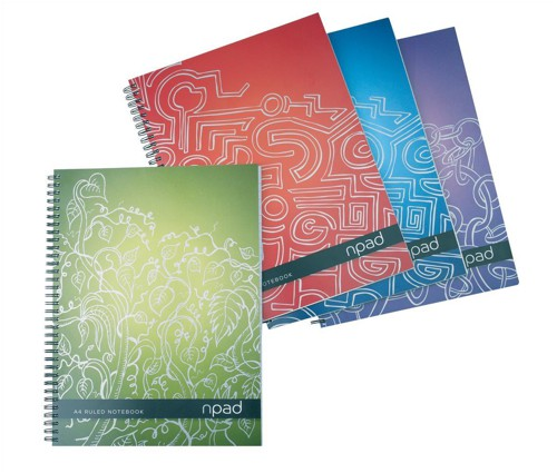 Oxford npad Project Book Recycled Wirebound Ruled Margin 200pp 80gsm A4+ Green Ref 100080725 [Pack 3]