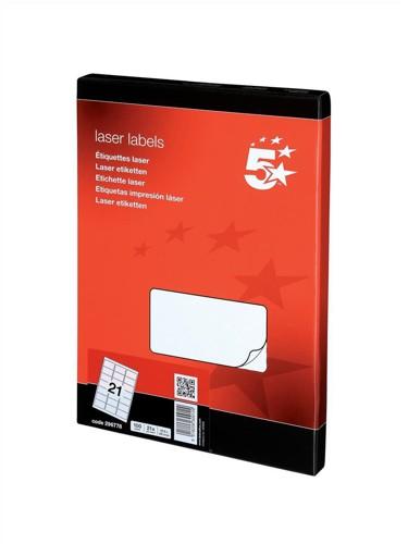 5 Star Laser Labels 63.5x38.1mm 100Shts