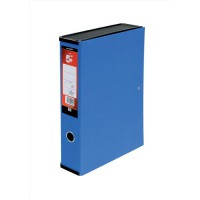 Image for 5 Star Box File Lock Spring with Ring Pull and Catch 75mm Spine Foolscap Blue [Pack 5]