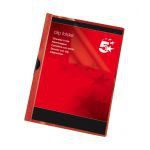 5 Star Clip Folder 6mm Spine for 60 Sheets A4 Red [Pack 25]
