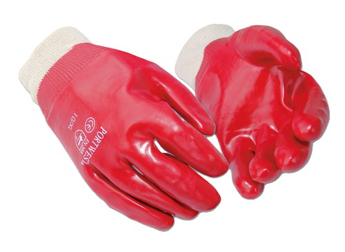 Portwest PVC Knitted Wrist Gloves Cotton & PVC Large Red Code A400LGE
