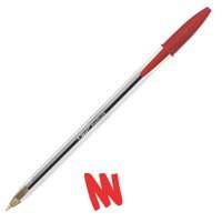 Image for Bic Cristal Ball Pen Clear Barrel 1.0mm Tip 0.4mm Line Red Ref 8373612 [Pack 50]
