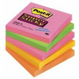 Post-it Super Sticky Notes 76x76mm Neon Rainbow Ref 654SN [Pack 5]