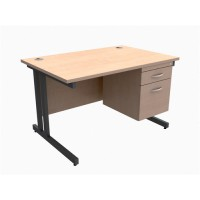 Image for Trexus Contract Plus Cantilever Desk Rectangular 2-Drawer Pedestal Graphite Legs W1200xD800xH725mm Maple