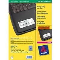 Avery Heavy Duty Labels Laser 48 per Sheet 45.7x21.2mm Silver Ref L6009-20 [960 Labels]