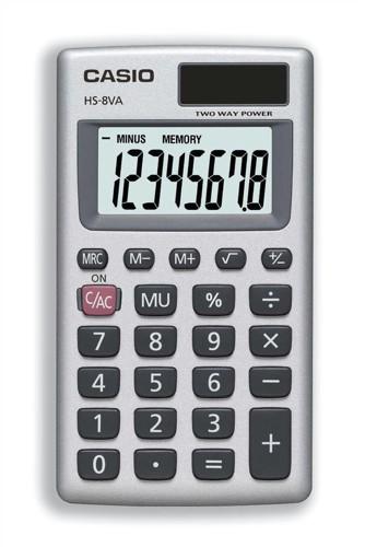 Casio Handheld Calculator Battery/Solar-power 8 Digit 3 Key Memory Code HS8V-S-U-H