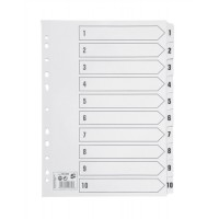 Image for 5 Star Index 230 micron Card with Clear Mylar Tabs 1-10 A4 White