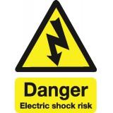 Stewart Superior Safety Sign Danger Shock Risk 200x150mm Self-Adhesive Vinyl Code KS002SAV
