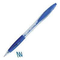 Image for Bic Atlantis Ball Pen Retractable Cushioned Grip 1.0mm Tip 0.4mm Line Blue Ref 887131 [Pack 12]