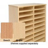 Tercel Post Room Sorter Hutch Add-on Single Height 2 Bay Can Fit 12 Shelves W640xD360xH620mm Maple