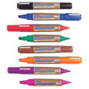 Artline 2-in-1 Whiteboard Markers Chisel Tip Assorted Colours Pack of 8 EK525TA (OVO)