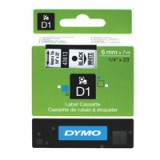 Dymo D1 Tape for Electronic Labelmakers 6mmx7m Black on White Code S0720780