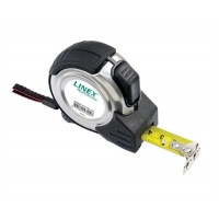 Image for Linex Measuring Tape Steel-cased Polyester-coated Metric and Imperial with Belt Clip 8m Ref LXEPMT8000
