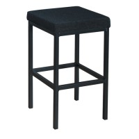 Image for Trexus High Stool with Foot Bar Upholstered Seat W410xD410xH700mm Charcoal