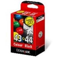 Lexmark No. 43XL/44XL Inkjet Cartridge Page Life 500/500pp Black/Colour Ref 80D2966 [Pack 2]