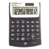 Aurora EcoCalc Desktop Calculator Recycled Solar/Battery Power 12 Digit 3 Key Memory Code EC707