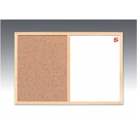Image for 5 Star Combination Noticeboard Cork and Drywipe W600xH400mm
