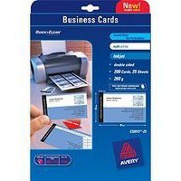 Image for Avery Quick and Clean Business Card Satin White Laser 85x54mm 10TV Pack of 25 C32026-25
