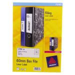 Avery Laser Box File Label 60mm 12TV Pack of 25 White L7176-25