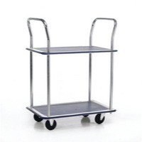 Image for Barton 2-Shelf Trolley with Chrome Handles Silver/Blue PST2