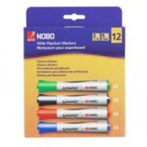 Nobo Glide Flipchart Marker Chisel Tip Assorted Pk 12 1902081